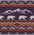 winter knitted woolen pattern with polar bears vector image vector image