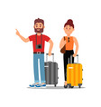 young couple of tourists with suitcases on wheels vector image