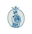 Scotsman Bagpiper Playing Bagpipes Etching vector image