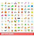 100 toys icons set cartoon style vector image
