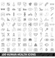 100 human health icons set outline style vector image vector image