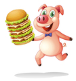 A pig holding a big pile of hamburgers vector image