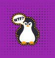 angry pinguin sticker vector image vector image