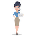business woman holding white envelope vector image vector image