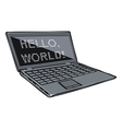 Cartoon laptop with text on its screen vector image