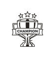 champion trophy with stars monochrome logotype vector image vector image
