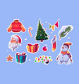 christmas stickers with santa claus and pine tree vector image