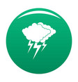 cloud thunder flash icon green vector image