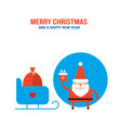 cute santa claus with presents gift bag and sleigh vector image