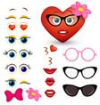 feminine red heart emoji maker emoticon vector image vector image