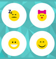 flat icon gesture set of grin caress asleep and vector image vector image