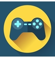 Game controller flat icon with long shadow vector image