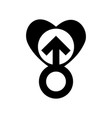 gender men signs in black heart icon a symbol of vector image