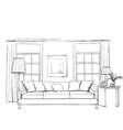 Hand drawn room interior sketch vector image vector image