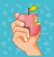 hand with apple fresh healthy food vector image vector image
