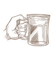 hands holding drink glass sketch icon of vector image