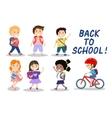 Happy school kids on white background vector image vector image