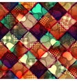 Hearts pattern on geometric background vector image