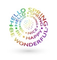 Hello Spring typographical background vector image