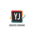 initial letter yj swoosh creative design logo vector image vector image