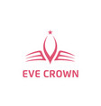 initials e eve with crown logo logotype design vector image