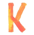 Letter K Colorful watercolor aquarelle font type vector image vector image