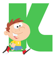 Letter K With A Kid vector image vector image