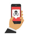 malware notification on phone vector image vector image