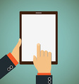Man shows his finger on a tablet vector image vector image