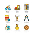 minimal lineart flat sports iconset vector image vector image