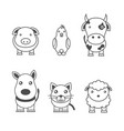 monochrome of animals vector image vector image