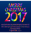 Patched bright Merry Christmas 2017 greeting card vector image vector image