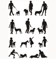 People and dog vector image vector image