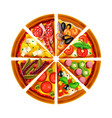 pizza from different slices top view isolated vector image
