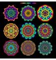Set of 9 rainbow palette mandalas vector image vector image