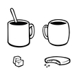 Set of black and white hot drink icons vector image vector image