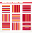 set stripped seamless geometric pattern in red vector image vector image