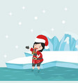 small girl with santa claus costume in north vector image vector image