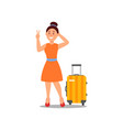 smiling woman standing near suitcase and showing vector image