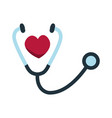 stethoscope icon with heart shape health care vector image