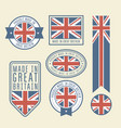 stickers tags and labels with great britain flag vector image vector image