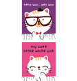 stock doodle cute couple kitty vector image vector image