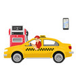 taxi driver sitting in his car next to gas station vector image