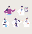 telemedicine characters doctors female male vector image