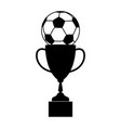 trophy soccer silhouette vector image vector image