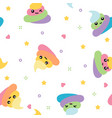 unicorn cute poop seamless pattern rainbow vector image vector image