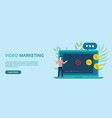 video marketing concept banner with free space vector image vector image