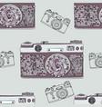 vintage retro photo camera seamless pattern vector image