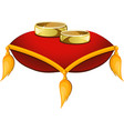 wedding rings on a red pillow vector image vector image