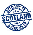 welcome to scotland blue stamp vector image vector image